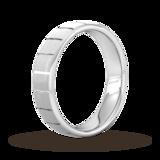 Goldsmiths 5mm D Shape Standard Vertical Lines Wedding Ring In 9 Carat White Gold