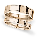 Goldsmiths 6mm Flat Court Heavy Polished Finish With Grooves Wedding Ring In 9 Carat Rose Gold - Ring Size Q
