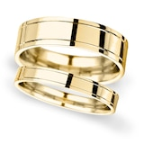 Goldsmiths 6mm D Shape Standard Polished Finish With Grooves Wedding Ring In 9 Carat Yellow Gold - Ring Size O