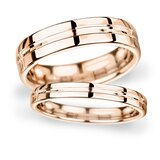 Goldsmiths 5mm Flat Court Heavy Grooved Polished Finish Wedding Ring In 18 Carat Rose Gold - Ring Size Q