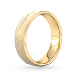 Goldsmiths 6mm Slight Court Extra Heavy Centre Groove With Chamfered Edge Wedding Ring In 18 Carat Yellow Gold