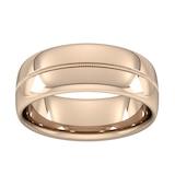 Goldsmiths 8mm Slight Court Heavy Milgrain Centre Wedding Ring In 9 Carat Rose Gold - Ring Size S