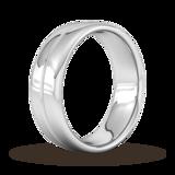 Goldsmiths 7mm Flat Court Heavy Milgrain Centre Wedding Ring In 18 Carat White Gold