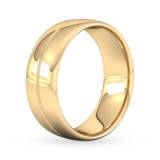 Goldsmiths 8mm Traditional Court Heavy Milgrain Centre Wedding Ring In 18 Carat Yellow Gold