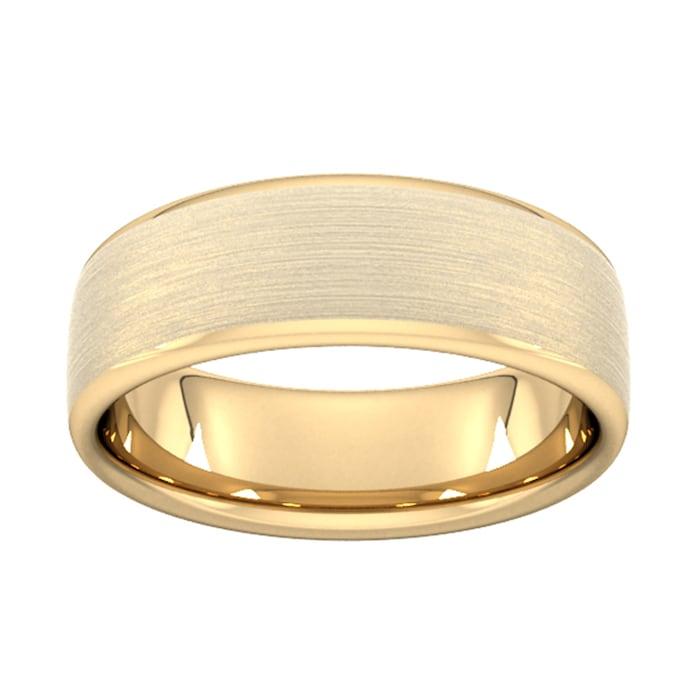 Goldsmiths 7mm Slight Court Extra Heavy Matt Finished Wedding Ring In 18 Carat Yellow Gold - Ring Size Q