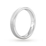 Goldsmiths 4mm Slight Court Heavy Centre Groove With Chamfered Edge Wedding Ring In 18 Carat White Gold