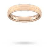 Goldsmiths 4mm Traditional Court Standard Centre Groove With Chamfered Edge Wedding Ring In 9 Carat Rose Gold - Ring Size R
