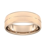 Goldsmiths 7mm Traditional Court Standard Centre Groove With Chamfered Edge Wedding Ring In 18 Carat Rose Gold