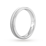 Goldsmiths 4mm Slight Court Extra Heavy Matt Finish With Double Grooves Wedding Ring In 9 Carat White Gold