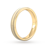 Goldsmiths 4mm Slight Court Extra Heavy Matt Finish With Double Grooves Wedding Ring In 9 Carat Yellow Gold