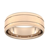 Goldsmiths 8mm Slight Court Extra Heavy Matt Finish With Double Grooves Wedding Ring In 9 Carat Rose Gold - Ring Size R