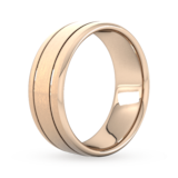 Goldsmiths 8mm Slight Court Extra Heavy Matt Finish With Double Grooves Wedding Ring In 9 Carat Rose Gold