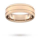 Goldsmiths 7mm D Shape Heavy Matt Finish With Double Grooves Wedding Ring In 18 Carat Rose Gold - Ring Size S