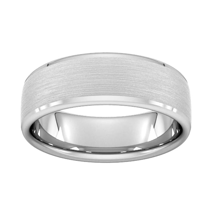 Goldsmiths 7mm D Shape Heavy Polished Chamfered Edges With Matt Centre Wedding Ring In Platinum - Ring Size P