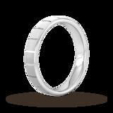 Goldsmiths 4mm Slight Court Heavy Vertical Lines Wedding Ring In 9 Carat White Gold