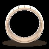 Goldsmiths 8mm Slight Court Heavy Vertical Lines Wedding Ring In 9 Carat Rose Gold