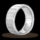 Goldsmiths 8mm Slight Court Heavy Vertical Lines Wedding Ring In 18 Carat White Gold