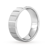 Goldsmiths 7mm Slight Court Extra Heavy Vertical Lines Wedding Ring In 18 Carat White Gold
