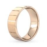 Goldsmiths 8mm Flat Court Heavy Vertical Lines Wedding Ring In 9 Carat Rose Gold