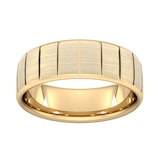 Goldsmiths 8mm Flat Court Heavy Vertical Lines Wedding Ring In 18 Carat Yellow Gold - Ring Size S