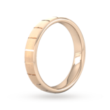 Goldsmiths 4mm Flat Court Heavy Vertical Lines Wedding Ring In 18 Carat Rose Gold