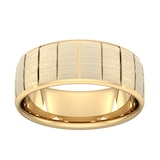 Goldsmiths 8mm Traditional Court Heavy Vertical Lines Wedding Ring In 9 Carat Yellow Gold - Ring Size S