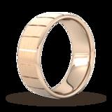Goldsmiths 8mm D Shape Standard Vertical Lines Wedding Ring In 18 Carat Rose Gold