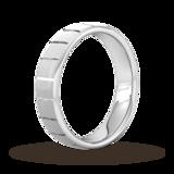 Goldsmiths 4mm D Shape Standard Vertical Lines Wedding Ring In Platinum