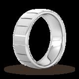 Goldsmiths 8mm D Shape Standard Vertical Lines Wedding Ring In Platinum