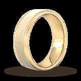 Goldsmiths 7mm Slight Court Heavy Matt Centre With Grooves Wedding Ring In 18 Carat Yellow Gold
