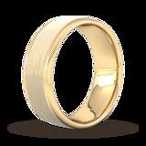 Goldsmiths 8mm Slight Court Heavy Matt Centre With Grooves Wedding Ring In 18 Carat Yellow Gold