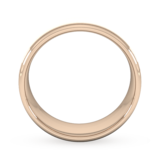 Goldsmiths 8mm Flat Court Heavy Matt Centre With Grooves Wedding Ring In 9 Carat Rose Gold