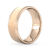 Goldsmiths 8mm Traditional Court Heavy Matt Centre With Grooves Wedding Ring In 9 Carat Rose Gold