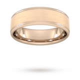 Goldsmiths 7mm D Shape Standard Matt Centre With Grooves Wedding Ring In 9 Carat Rose Gold - Ring Size Q