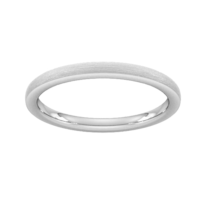 Goldsmiths 2mm Flat Court Heavy Polished Chamfered Edges With Matt Centre Wedding Ring In 9 Carat White Gold - Ring Size N