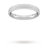 Goldsmiths 3mm Traditional Court Heavy Polished Chamfered Edges With Matt Centre Wedding Ring In 9 Carat White Gold - Ring Size L