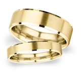 Goldsmiths 2mm D Shape Heavy Polished Chamfered Edges With Matt Centre Wedding Ring In 18 Carat Yellow Gold