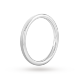Goldsmiths 2mm D Shape Heavy Polished Chamfered Edges With Matt Centre Wedding Ring In Platinum