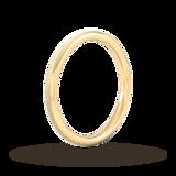 Goldsmiths 2mm Slight Court Standard Matt Centre With Grooves Wedding Ring In 18 Carat Yellow Gold