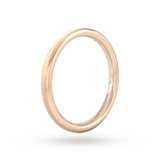 Goldsmiths 2mm D Shape Heavy Matt Centre With Grooves Wedding Ring In 9 Carat Rose Gold