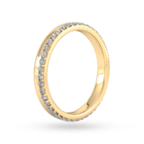 Goldsmiths 0.42 Carat Total Weight Brilliant Cut Wave Claw Set Diamond Wedding Ring In 18 Carat Yellow Gold