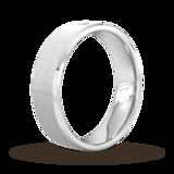 Goldsmiths 6mm Brilliant Cut Diamond Set Chamfered Edge Wedding Ring In 9 Carat White Gold