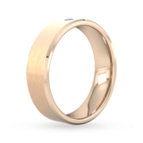 Goldsmiths 6mm Brilliant Cut Diamond Set Chamfered Edge Wedding Ring In 9 Carat Rose Gold