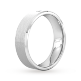 Goldsmiths 6mm Brilliant Cut Diamond Set Chamfered Edge Wedding Ring In Platinum