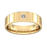 Goldsmiths 6mm Brilliant Cut Diamond Set With Vertical Lines Wedding Ring In 9 Carat Yellow Gold