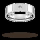 Goldsmiths 6mm Brilliant Cut Diamond Set With Vertical Lines Wedding Ring In Platinum
