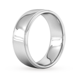Goldsmiths 8mm Slight Court Extra Heavy Polished Finish With Grooves Wedding Ring In Platinum