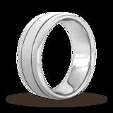 Goldsmiths 8mm Slight Court Extra Heavy Matt Finish With Double Grooves Wedding Ring In 950 Palladium
