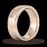 Goldsmiths 7mm Slight Court Heavy Milgrain Centre Wedding Ring In 9 Carat Rose Gold