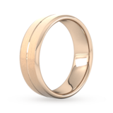 Goldsmiths 7mm Slight Court Heavy Centre Groove With Chamfered Edge Wedding Ring In 9 Carat Rose Gold